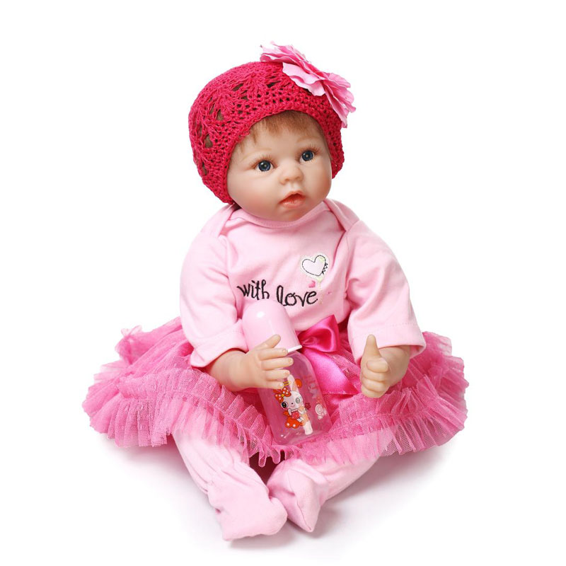 Fashion Soft Silicone Reborn Baby Doll 22 Inch Girl Princess Model Doll Toy with Pink Clothes Cute Baby Dolls For Children Gifts npkcollection fashion reborn baby doll 22 with free pacifier safe soft silicone model baby reborn with clothes kits xmas gifts