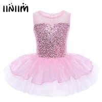 Iiniim Mädchen Ballerina Party Kostüm Pailletten Reflektierende Blume Kleid Dancewear Gymnastic Trikot für Kinder Ballett Tutu Kleid