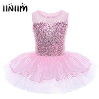 Sleeveless Ballerina Fairy Prom Party Costume Kids Girls Sequined Flower Dress Dancewear Gymnastic Ballet Leotard Tutu