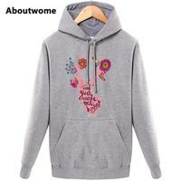 Only You Make Me Happy Womens Hoodies Deer Flower Sweatshirts Sweet Girl Hoodie Letter Beautiful Pattern