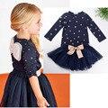 Meninas 2 Pcs Set Azul Em Camadas Vestido Tutu Conjuntos de Roupas Conjuntos de roupas meninas conjuntos de roupas de Bebê meninas dos desenhos animados roupas das meninas