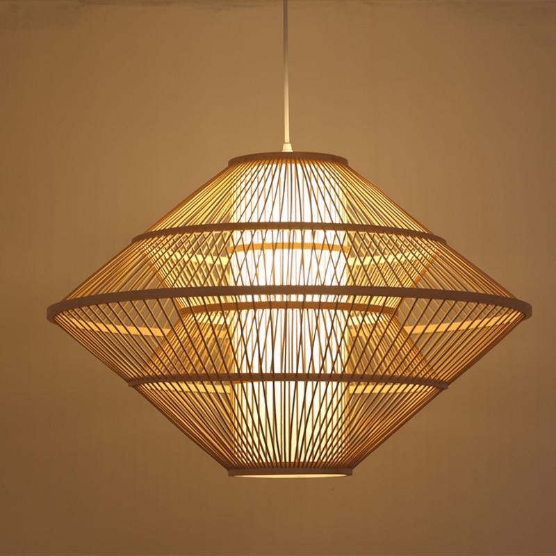 Pendant Lamp Bamboo Lantern Work Hand Knitted Pendant Light Hanging Lamp Antique Simple Study Pendant Lighting Luminaire G071