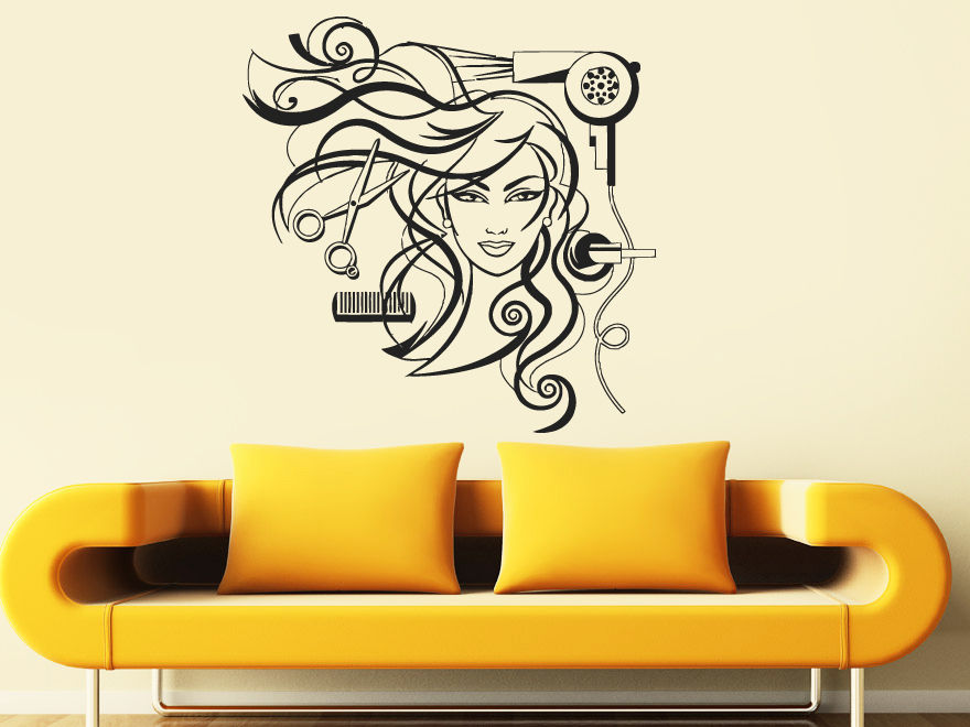 Buy hair salon wall art decal sexy girl for Stickers salon