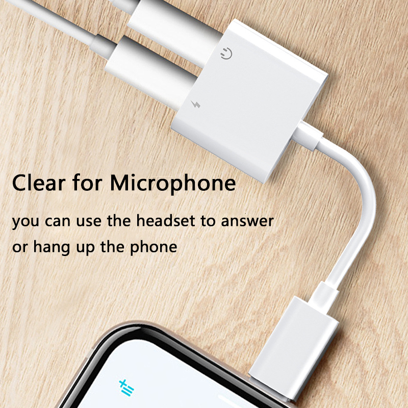 2 in 1 Audio Adapter charging Earphone Cable For iPhone 7 8 plus X Aux Jack headset For Lightning 3 5 mm To Headphone splitter in Phone Adapters Converters from Cellphones Telecommunications