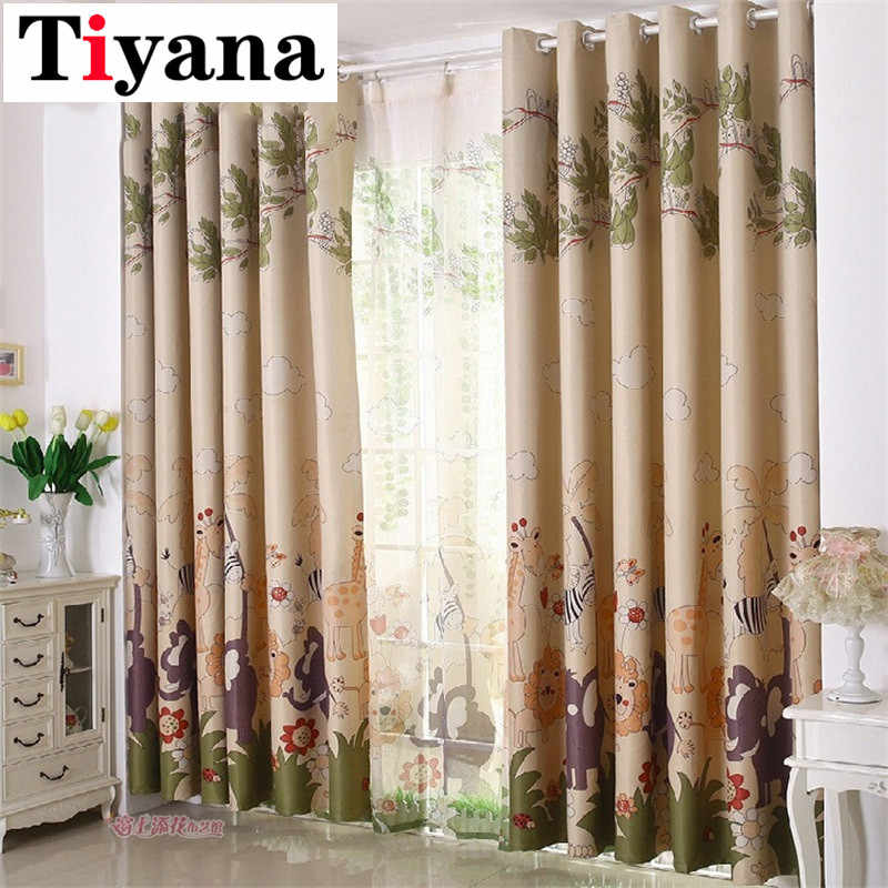 Cartoon Giraffe Animal Design Kids Bedroom Shade Curtains Pink Beige Voile Curtain Finished Blackout Children Cortinas P332D2