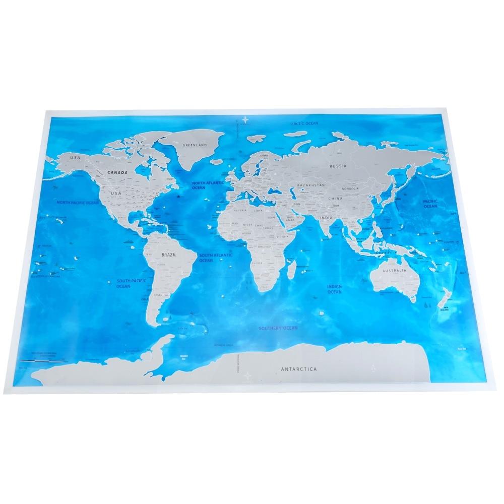 1 pc PVC Scratch Map Blue Ocean World Scratch Map Mini