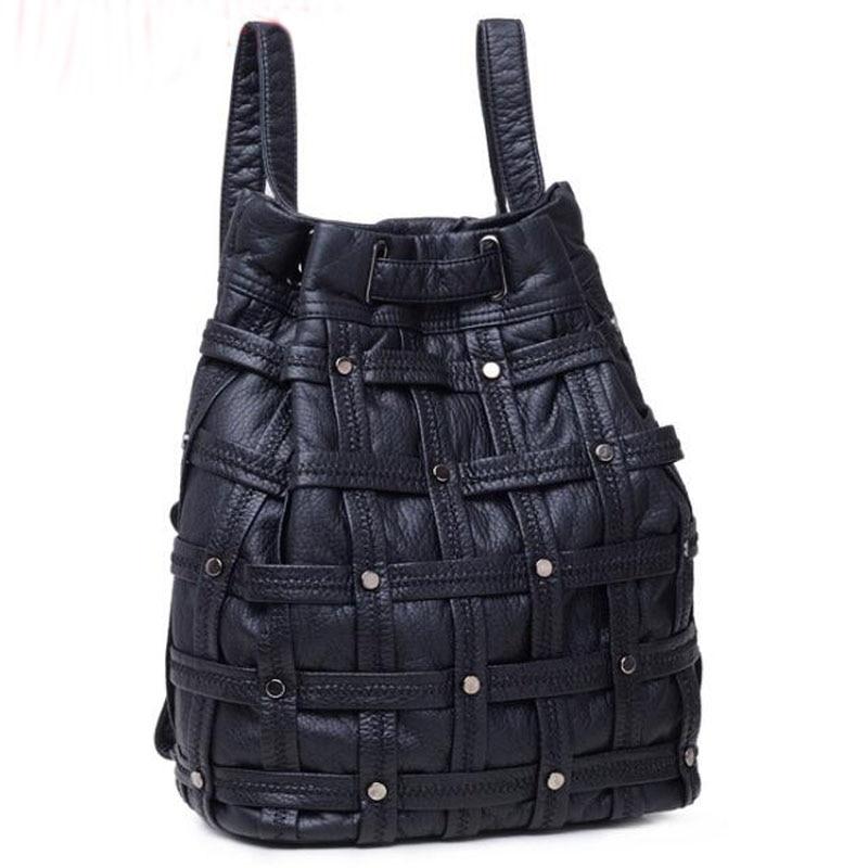 ФОТО 2017 Best Selling Fashion Leather Rivet Women Backpack Women's Backpacks for Teenage Girls Bags Black bucket Shoulder Bags FR191
