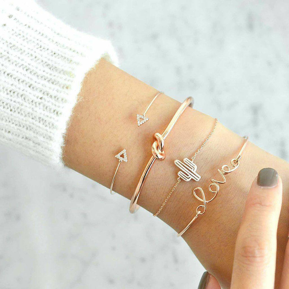 Zerotime #H5 NEW FASHION 4PC Knot Love Gold Opening Vintage Beautiful Leaf Arrow Bangle Cuff Bracelets Free Shipping