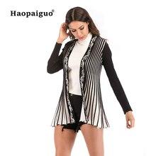 European Women Thin Striped Knitting Cardigan Long Sleeve Loose Outerwear Open Stitich Sweater Plus Size