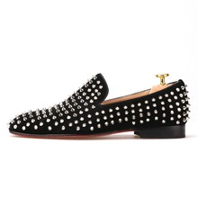 Handmade men black nubuck leather shoes with silver rivet Fashion CL same style men loafers red bottom men's flats Size US 4-17
