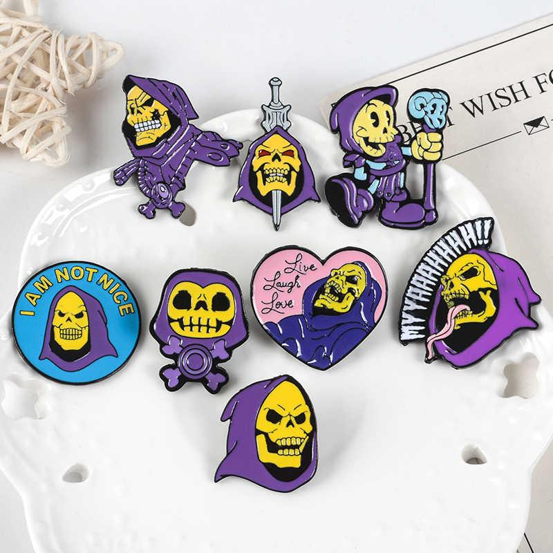 9 stili di Scheletro Smalto Spille s Viola robe Skeletor Spille Morto Skull Spille Per Le Donne Degli Uomini Dei Monili di Halloween Giubbotti Camicia distintivo