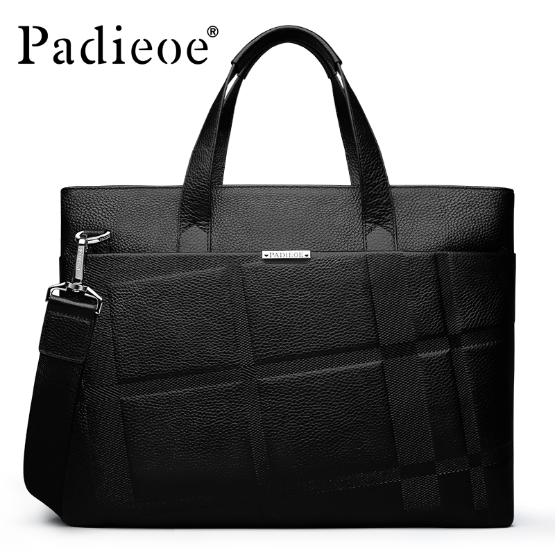 Padieoe 2017 Mens Briefcase Fashion Genuine Leather Bag Brand Handbag Business Classic Men Shoulder Messenger Bags padieoe men s genuine leather briefcase famous brand business cowhide leather men messenger bag casual handbags shoulder bags