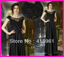 Vintage Black Cap Sleeve Beads Lace Chiffon Long Mother of Bride Dresses Gowns M1704
