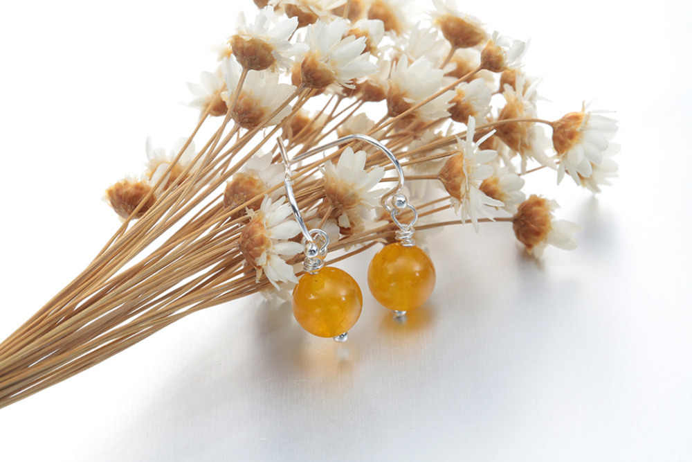 Qiamni หินธรรมชาติต่างหูสีม่วงสีเหลืองสีต่างหูสำหรับผู้หญิงต่างหูออกแบบเครื่องประดับเครื่องประดับ