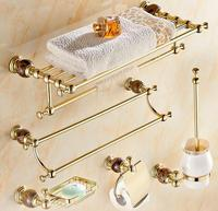Luxury solid brass and jade gold finish Bathroom Accessories Set,Robe hook,Paper Holder,Towel Bar,Soap basket