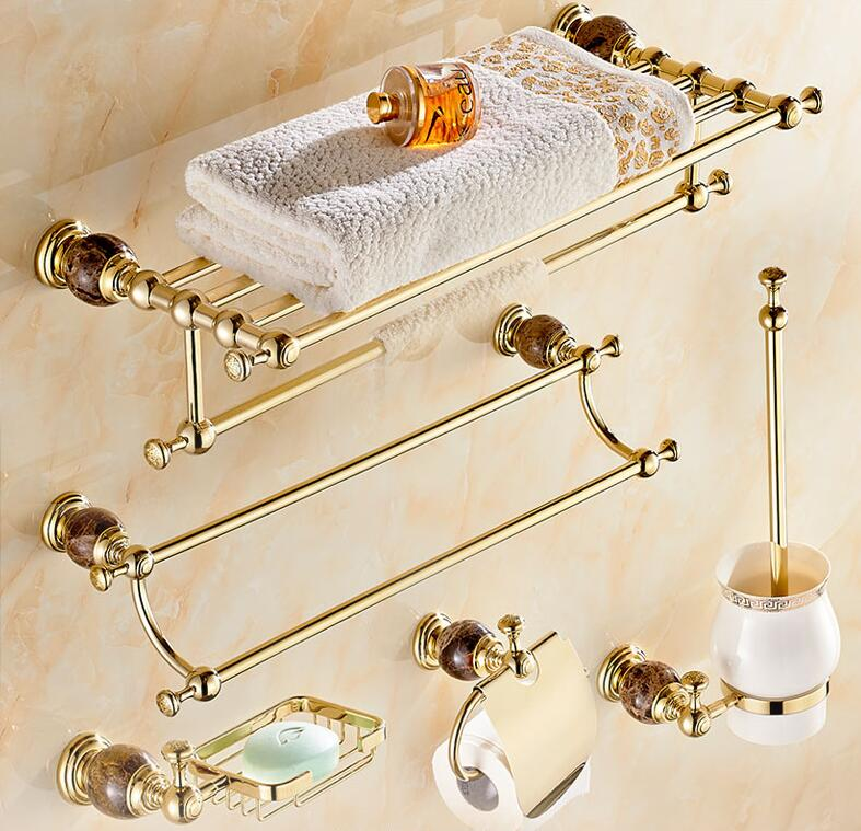 Luxury solid brass and jade gold finish bathroom - Solid brass bathroom accessories ...