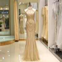 2019 New Arrival Mermaid Style Halter Formal Evening Gowns Gold Robes De Soiree Beaded Evening Dress Special Occasion Dresses