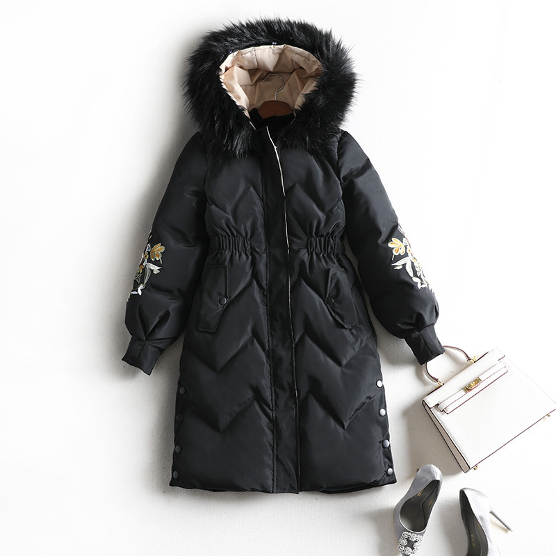 Casual Space Cotton Coat Women Winter Black   Parka   Embroidery Plus Size Thick Warm Fashion Outwear with Fur Cap Xl To 5Xl 8642