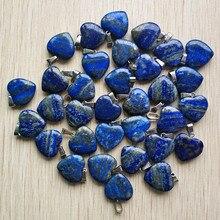 Pendentifs Lapis Lazuli naturels de haute qualité, breloques en forme de cœur, pour la fabrication de bijoux à faire soi même, lot de 20mm, 24 pièces/vente en gros, tendance 2018