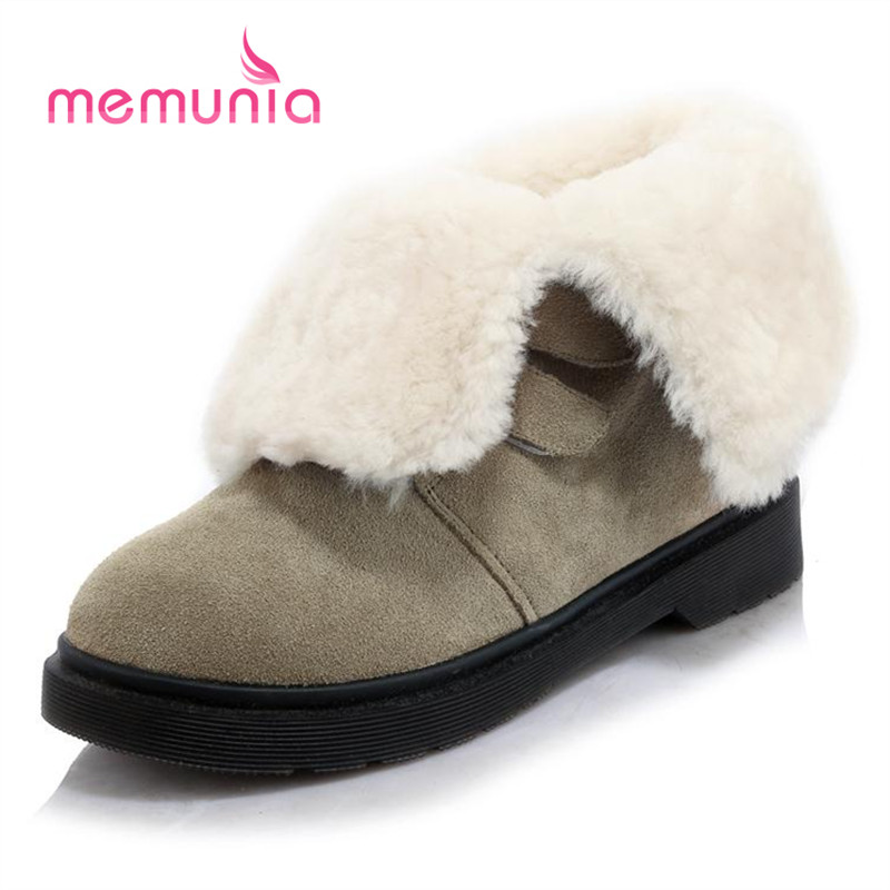 ФОТО MEMUNIA Big size 34-40 ankle boots solid cowhide leather boots winter women flat shoes warm wool snow boots comfortable