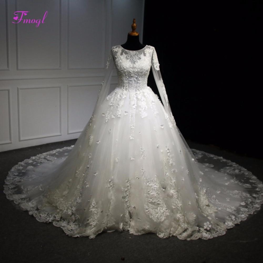 Vestido De Noiva Scoop Neck Lace Up Appliques Ball Gown Wedding Dress 2019 Luxury Beaded Long Sleeve Pearls Vintage Wedding Gown