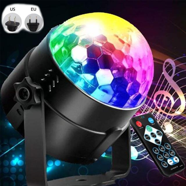 Bola de discoteca giratoria activada por sonido, luces de Fiesta de DJ, 3W, 3LED, RGB, luces de escenario LED, para Navidad, boda, fiesta
