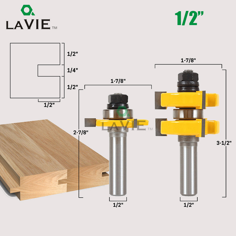 LA VIE 2pcs 1/2 Tenon Cutter Floor Wood Drill Bits T type Groove and Tongue Router Bit 3 Teeth Milling Cutter For Wood MC03017