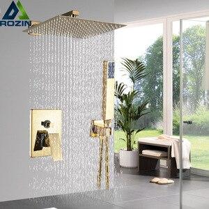 Image 1 - Kit de torneira para banheiro, kit de chuveiro dourado de 8/20/22 polegadas, chuveiro quadrado, torneira, montagem na parede, torneira do banheiro, oculto, misturador torneira banheira