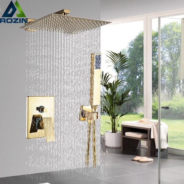Kit de torneira para banheiro, kit de chuveiro dourado de 8/20/22 polegadas, chuveiro quadrado, torneira, montagem na parede, torneira do banheiro, oculto, misturador torneira banheira