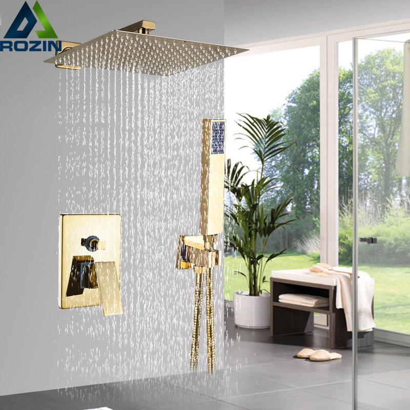 """Luxury 8/10/12"""" Rainfall Golden Shower Faucet Set Wall Mount Single Handle Shower Mixer Tap Square Handshower Concealed Install-in Shower Faucets from Home Improvement"""