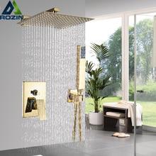 "Rozin Golden Shower Set 8/10/12"" Square Rainfall Shower Faucet Wall Mount Bathroom Faucet Concealed shower Mixer Set Bathtub Tap"