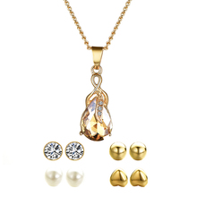 цена на Water Drop Jewelry Sets Necklace & Earrings For Woman Charm Long Necklace Pendant Earrings Wedding Jewelry Gift