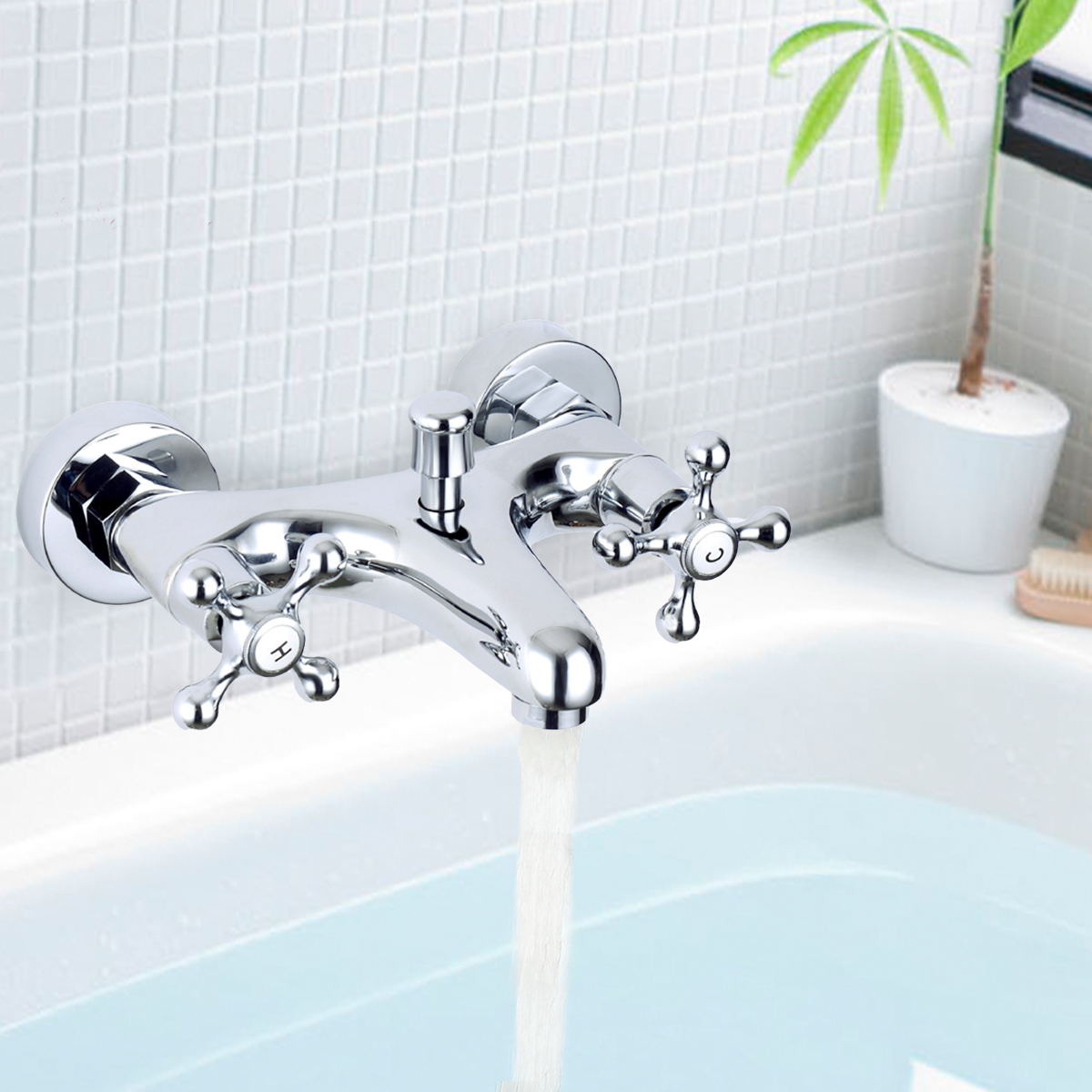Brass Chrome Wall Mounted Bathroom Faucet Value Shower Faucets Double Handle Bath Mixer Tap European Antique Style Cold/Hot wall mounted stain black bathtub faucet double handle antique brass mixer tap bath