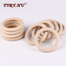 TYRY.HU 50pcs 40mm/70mm Wooden Baby Teething Rings Infant Teether Toy DIY Accessories For 3-12 Month Infants Tooth Care Products