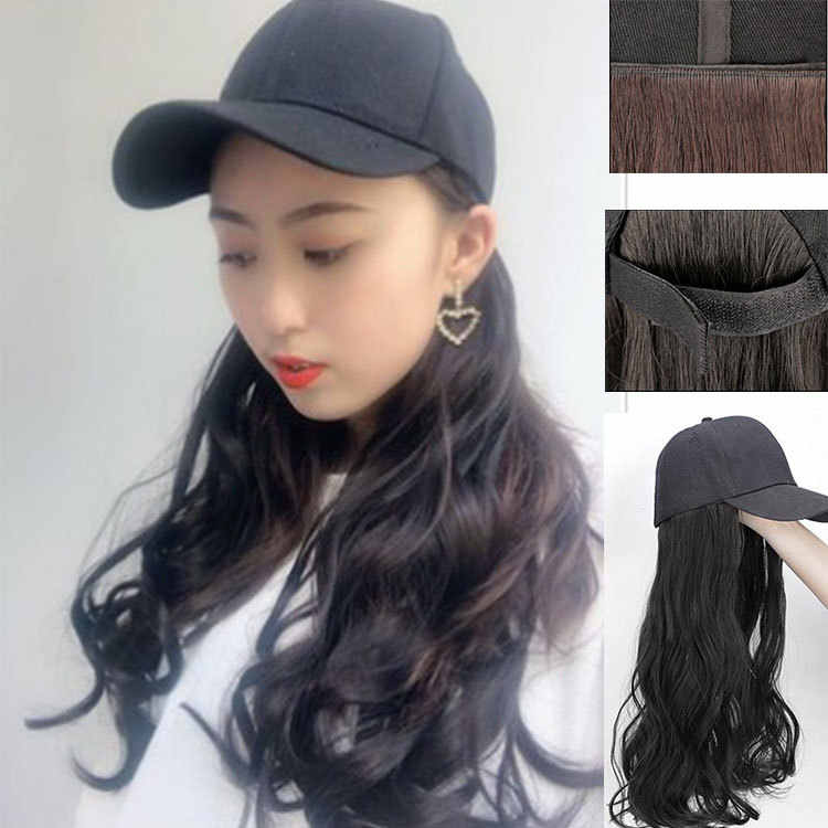 Fashion Cap Hair Sun Hat For Women Snapback Dad Hats Casual Adjustable Empty Top Sports Cap Hair Wigs Bob Wig Full and Thick