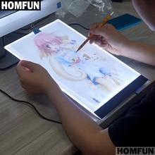 Homfun A4 Led Kunstenaar Dunne Art Stencil Tekening Board Light Box Tracing Tafel Pad 5D Diy Diamant Borduurwerk Schilderij Cross stitch
