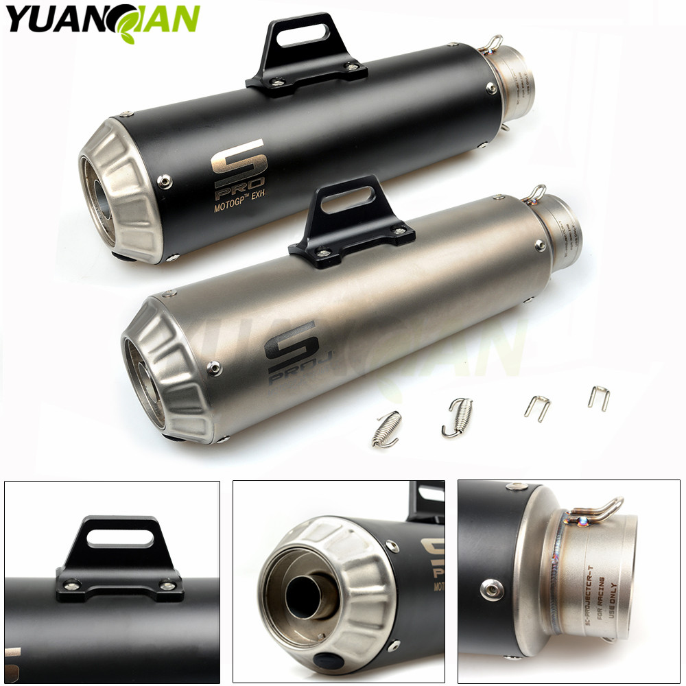 61mm Motorcycle Exhaust Pipe Scooter Modified exhaust Muffler pipe  For Yamaha FJR1300 BWs 125 FZ07 09 FZ1 FZ8 FZ6R MT09 MT07