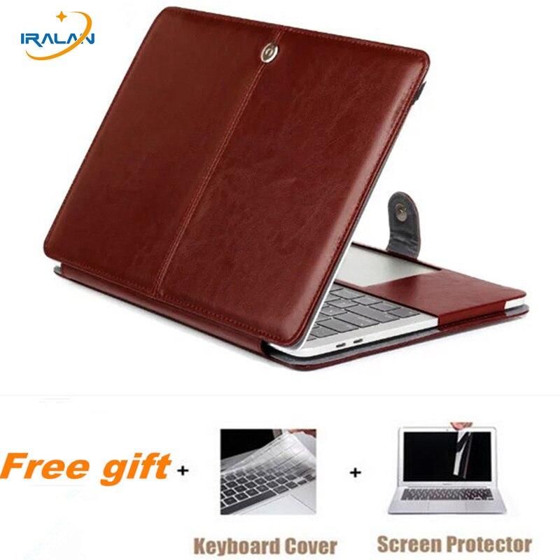 Caso notebook para macbook air 11 12 13 macio saco de couro do plutônio para pro retina 13.3 15 barra de toque a1706 a1989 a1707 portátil flip cover