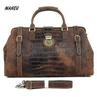 MAHEU 2019 Новое поступление мужская дорожная сумка из крокодиловой кожи мужская сумка с плечевым ремнем дорожная сумка роскошный дизайн Аллиг