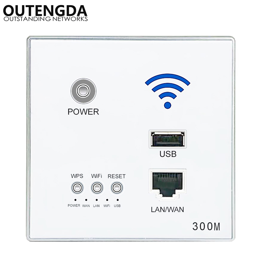 300M New In-Wall AP Access Point Wireless WiFi Router USB-charging Socket Wall Mount Wi-Fi AP Router With WPS Encryption