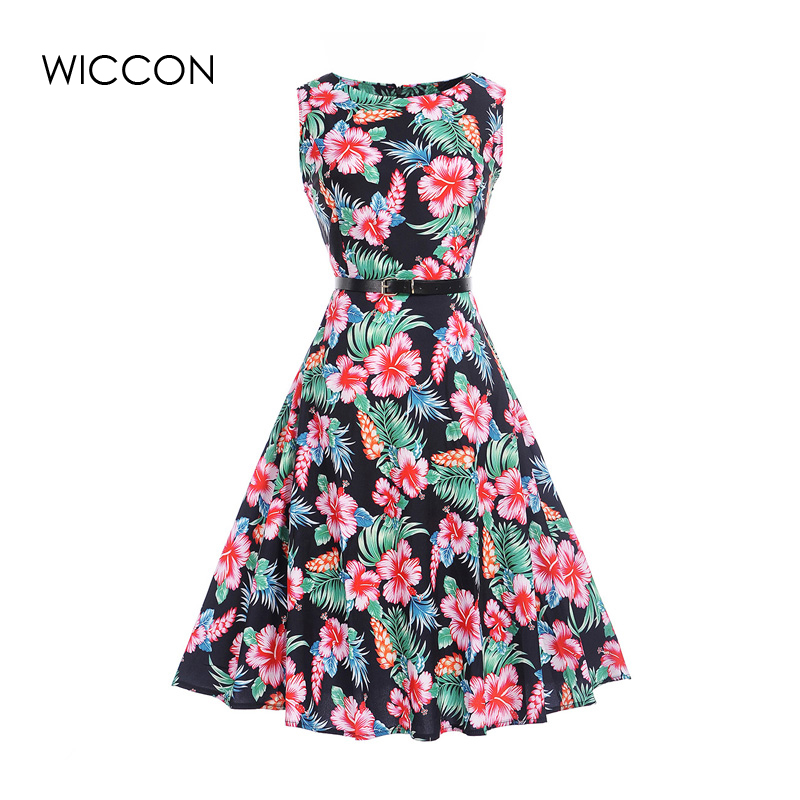 chinese style print a-line dress women summer sleeveless knee length high defined waist o neck dresses women clothes retro thin