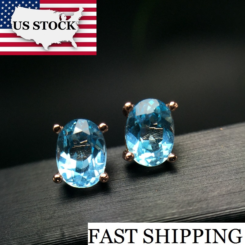 Uloveido Natural Aquamarine Earrings for Women Rose Gold Color 925 Sterling Silver 5 7mm March Birthstone Gemstone Jewelry FR110 in Earrings from Jewelry Accessories