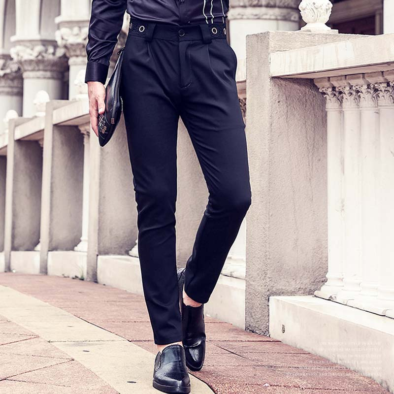 FANZHUAN Featured Brands Clothing Fashion Casual Pants Men Dress Work Pants Quality Slim Fit Cotton Formal Male Trousers Black