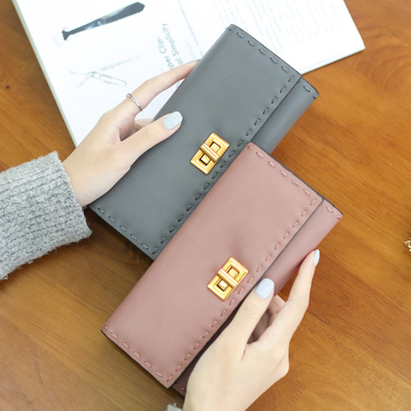 YOUYOU MOUSE Fashion Retro Long Women Wallet Solid Color High Quality Money Wallet PU Leather 2 Fold Card Holder Wallet youyou mouse high quality women long wallets fashion pu leather money wallet 6 colors lady clutch coin purse card