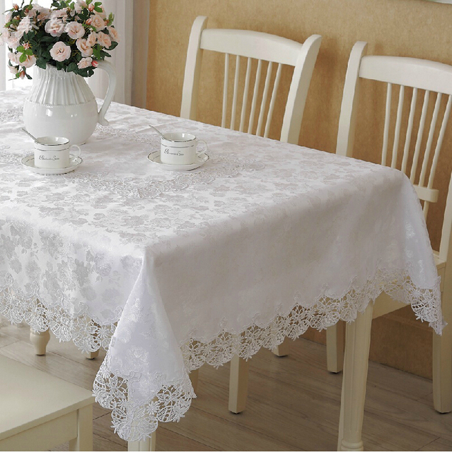 Ordinaire White High Quality Elegant Polyester Satin Lace Tablecloth Wedding Table  Cloth Cover Overlays Home Decor Textiles
