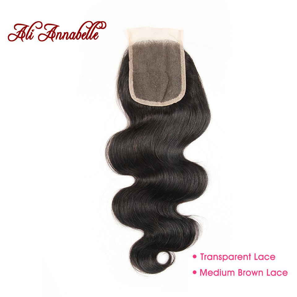 ALI ANNABELLE Brazilian Body Wave Lace Closure Medium Brown/ Transparent Lace Remy Human Hair Closure 10-22 inch 4 by 4 Closure
