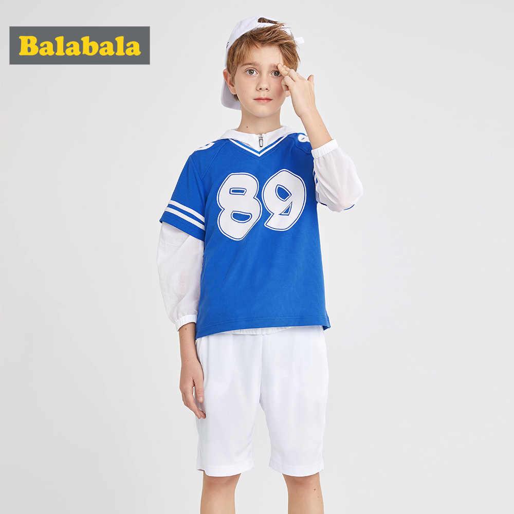 Balabala/детская одежда; костюм для мальчиков; Новинка 2019 года; летний комплект из двух предметов; дышащая Спортивная одежда для мальчиков; комплект одежды
