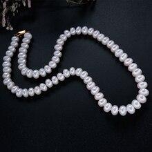 Классический натуральный пресноводный жемчуг ожерелье для женщин лучший подарок для матери белый/розовый/фиолетовый жемчуг