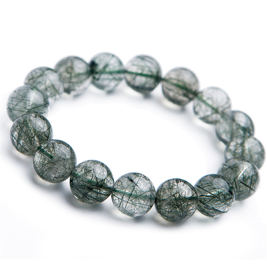 13mm Genuine Brazil Natural Green Rutilated Quartz Crystal Round Bead Stretch Bracelets For Women Men13mm Genuine Brazil Natural Green Rutilated Quartz Crystal Round Bead Stretch Bracelets For Women Men
