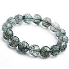 купить 13mm Genuine Brazil Natural Green Rutilated Quartz Crystal Round Bead Stretch Bracelets For Women Men по цене 8235.19 рублей